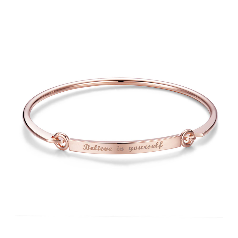 PandaHall SHEGRACE® Fashion Engraved Quote Brass Bangle, with Words Belie..