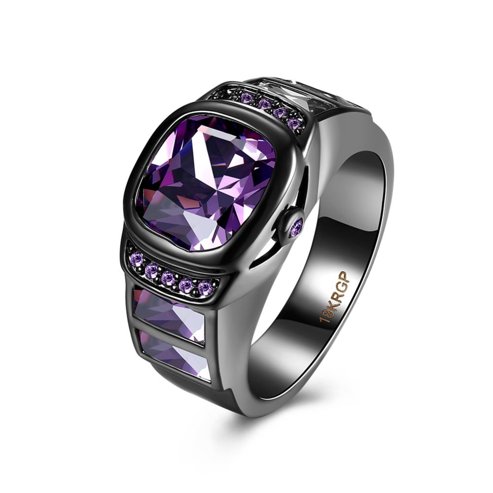 PandaHall_Brass_Cubic_Zirconia_Rings_Square_Purple_Gunmetal_Size_8_181mm_BrassCubic_Zirconia_Purple