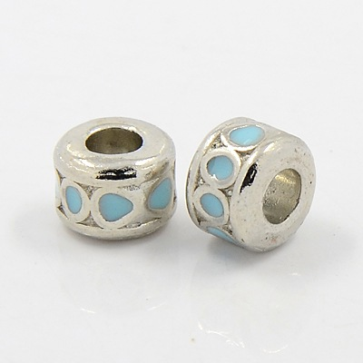 PandaHall Alloy European Beads, Enamel, Platinum Color, Lead Free and Cadmiu..