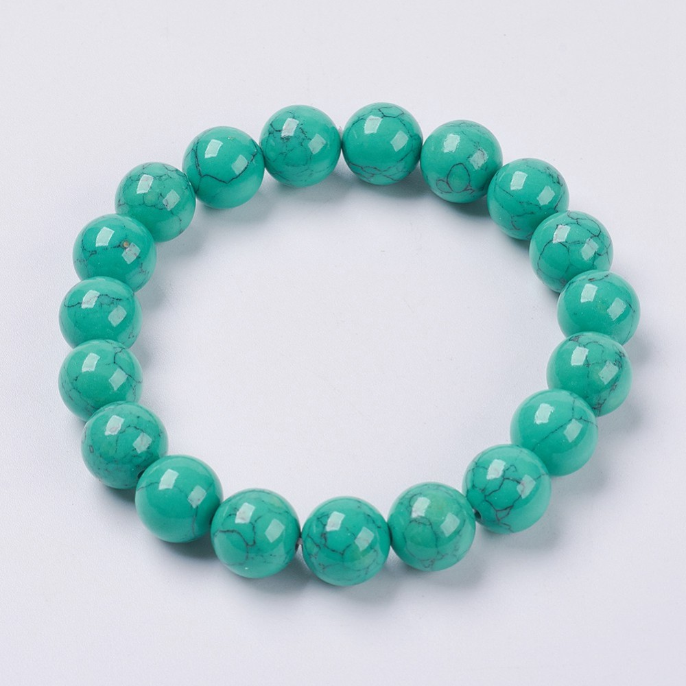PandaHall_Synthetic_Turquoise_Beaded_Stretch_Bracelet_Round_SeaGreen_25cm_Beads_16mm_Synthetic_Turquoise_Green