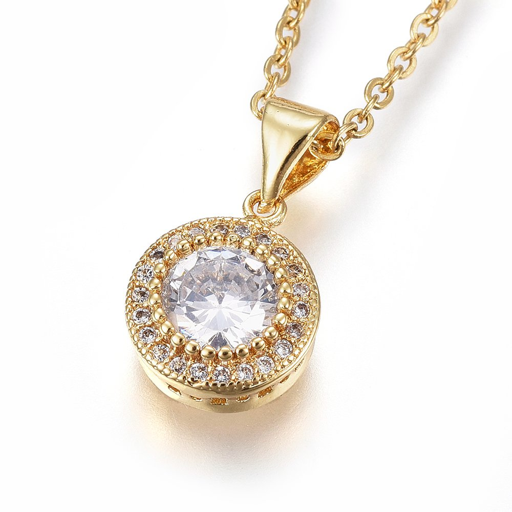 PandaHall 304 Stainless Steel Pendant Necklaces, with Cubic Zirconia, Clear, Flat Round, Golden, 17.71