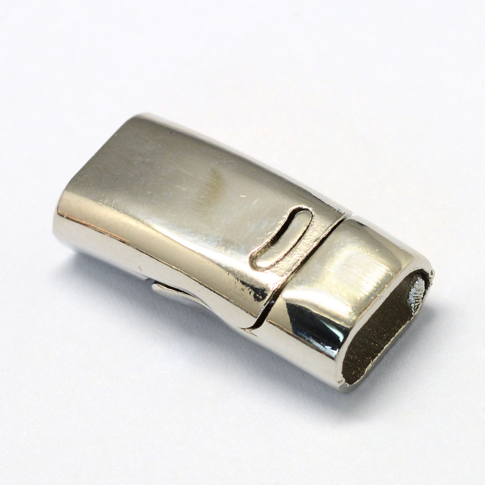 PandaHall_Alloy_Magnetic_Clasps_Rectangle_Platinum_26x125x7mm_Half_Hole_5x10mm_Alloy_Rectangle