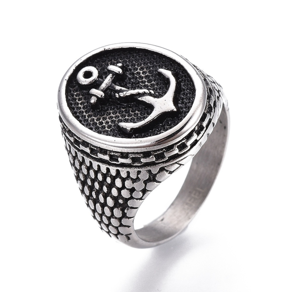 PandaHall_304_Stainless_Steel_Wide_Band_Finger_Rings_Flat_Round_with_Anchor_Antique_Silver_Size_7~13_17~22mm_Stainless_Steel