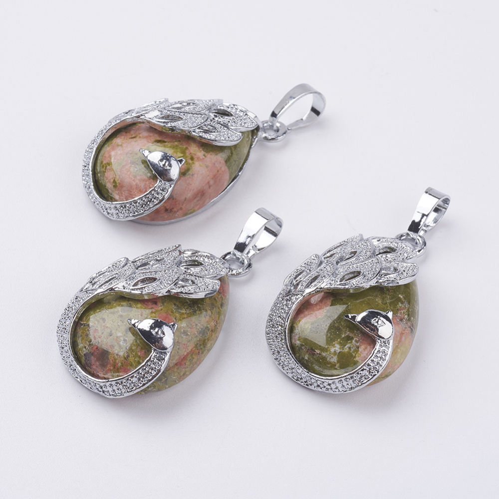 PandaHall Natural Unakite Pendants, with Alloy Finding, Drop with Peacock, Platinum, 33x20x10.5mm, Hole: 5x6.5mm Unakite Drop