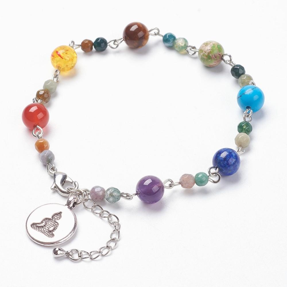 PandaHall Natural & Synthetic Mixed Stone and Indian Agate Beads Chakra Char..