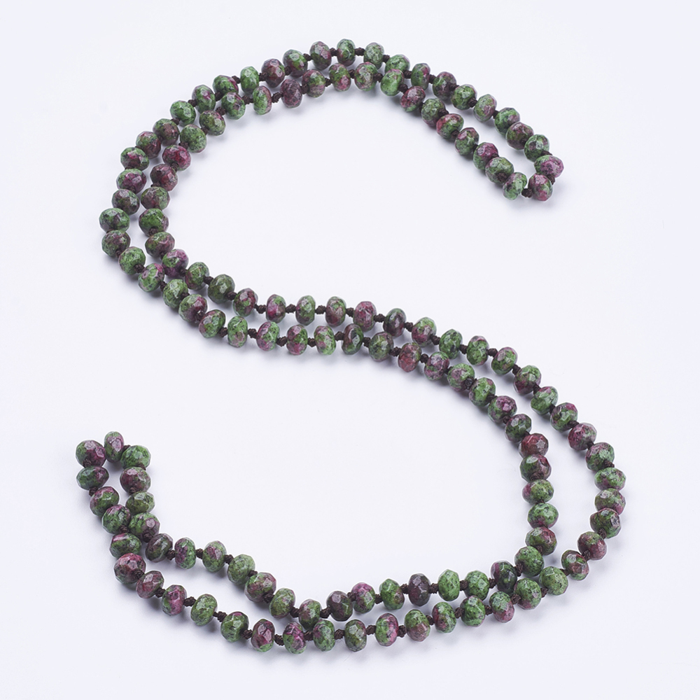 """PandaHall_Natural_Ruby_in_Zoisite_Beaded_Multi-use_Necklaces_Wrap_Bracelets,_Three-Four_Loops_Bracelets,_Faceted,_Abacus,_37.4""""(95cm)_Ruby..."""