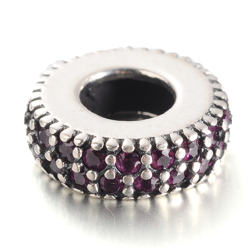 PandaHall_Antique_Silver_Plated_Thai_Sterling_Silver_Micro_Pave_Cubic_Zirconia_Bead_Spacers_Large_Hole_Flat_Round_Beads_MediumVioletRed