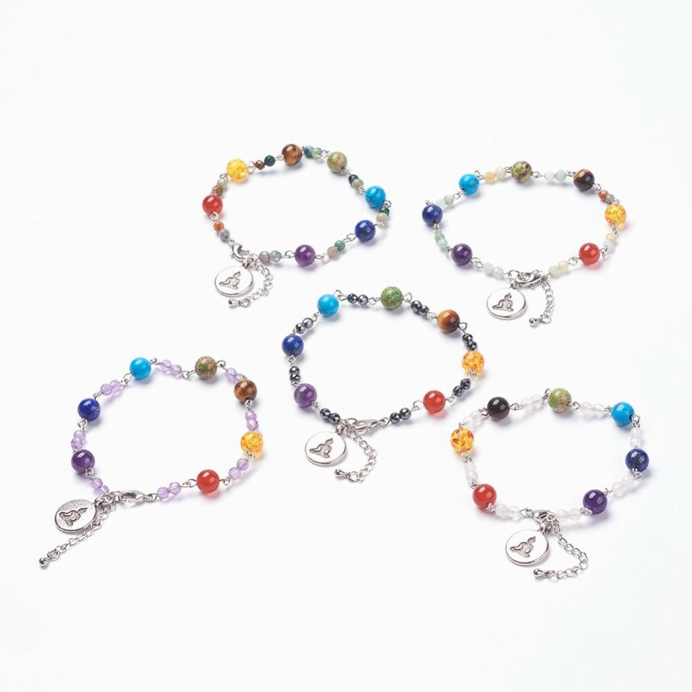 PandaHall Natural & Synthetic Mixed Stone Beads Chakra Charm Bracelets, Resi..