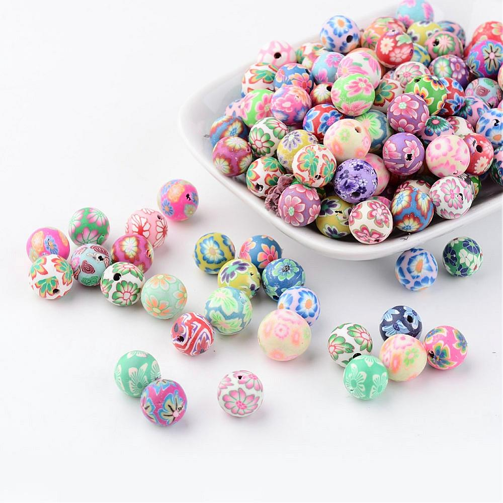 PandaHall_Handmade_Polymer_Clay_Beads_Round_Mixed_Color_about_10mm_in_diameter_hole_2mm_Polymer_Clay_Round_Multicolor