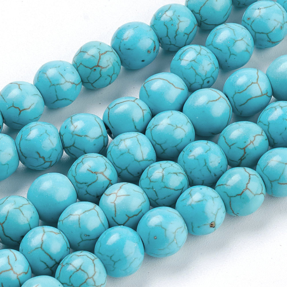PandaHall_Gemstone_Beads_Synthetical_Turquoise_Round_SkyBlue_8mm_Hole_1mm_about_about_50pcsstrand_Synthetic_Turquoise_Round_Blue