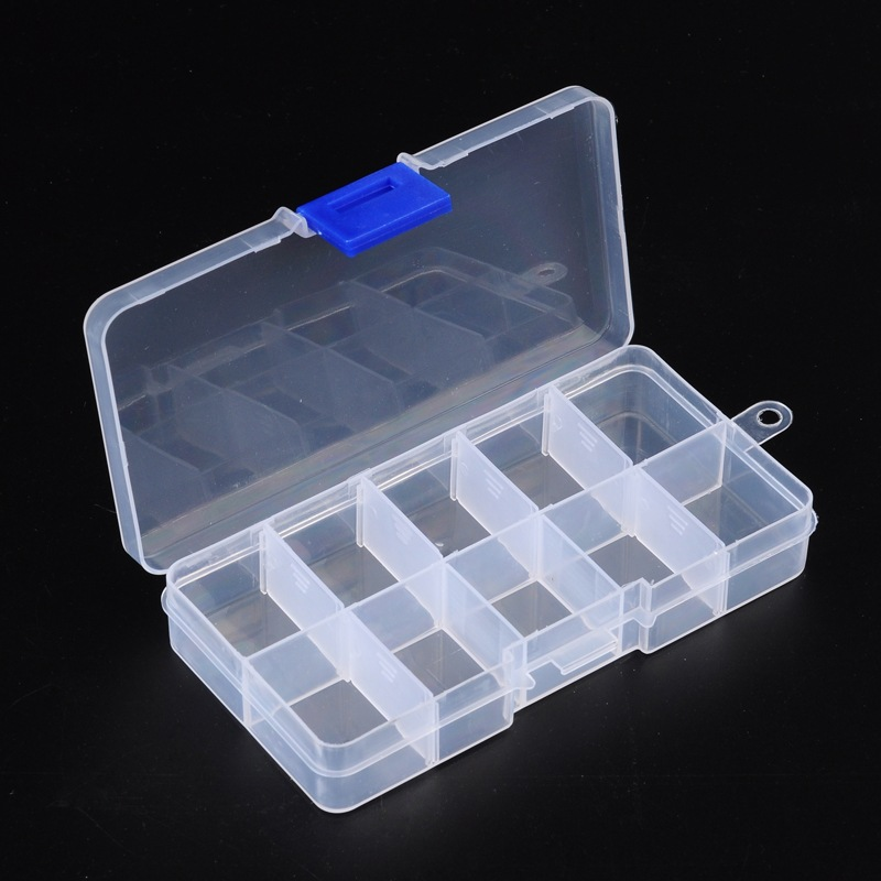 PandaHall_10_Compartment_Organiser_Storage_Plastic_Box_for_Loom_Bands_Craft_or_Nail_Art_Beads_7x13x23cm_Plastic_Rectangle_Clear