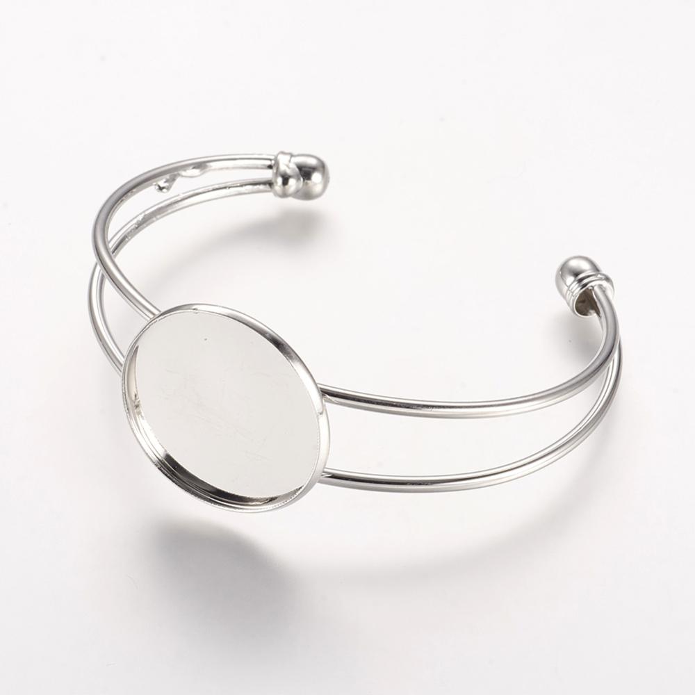 PandaHall Brass Cuff Bangle Makings, Bangle Blanks, with Flat Round Tray, Pl..