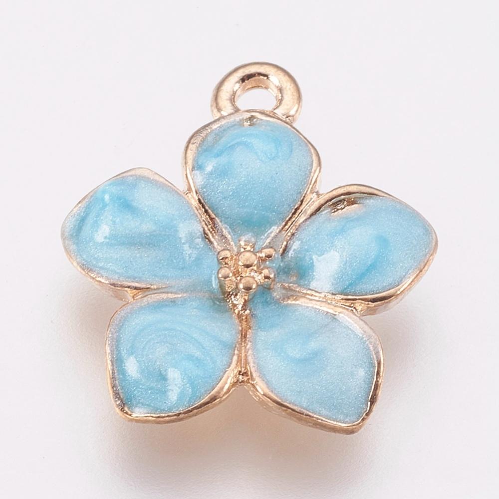 PandaHall_Zinc_Alloy_Enamel_Pendants_Flower_Golden_LightSkyBlue_165x145x25~3mm_Hole_15mm_AlloyEnamel_Flower_Blue