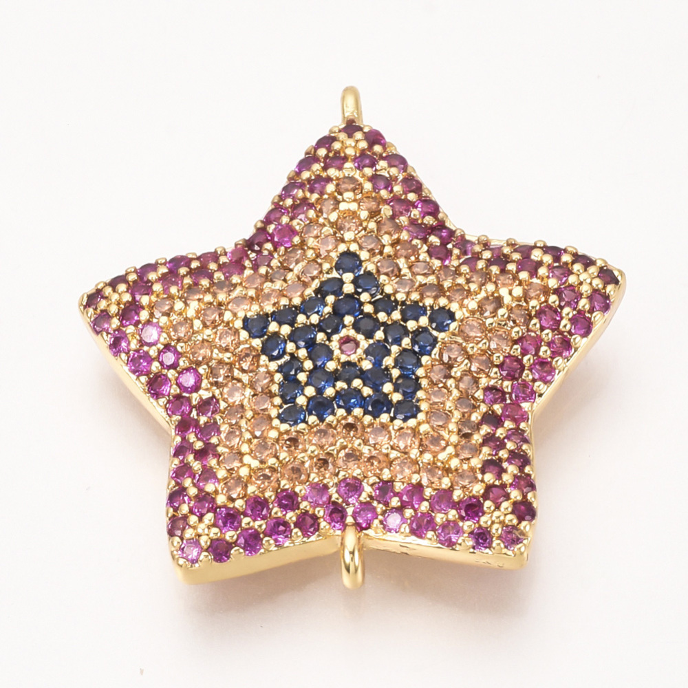 PandaHall_Brass_Micro_Pave_Cubic_Zirconia_Links_Star_Colorful_Golden_235x22x3mm_Hole_1mm_BrassCubic_Zirconia_Star