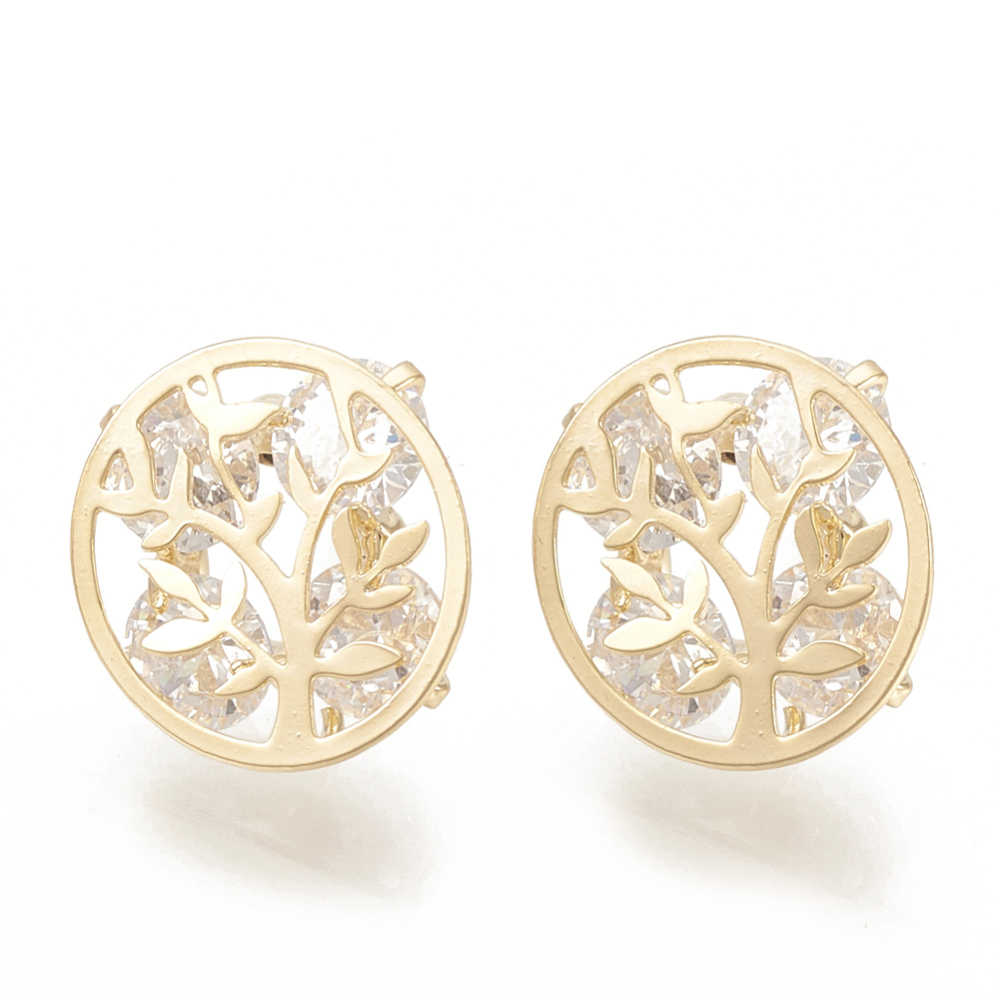 PandaHall_Brass_Cubic_Zirconia_Stud_Earring_Findings_Flat_Round_with_Tree_Real_Gold_Plated_12mm_Hole_15mm_Pin_08mm_BrassCubic
