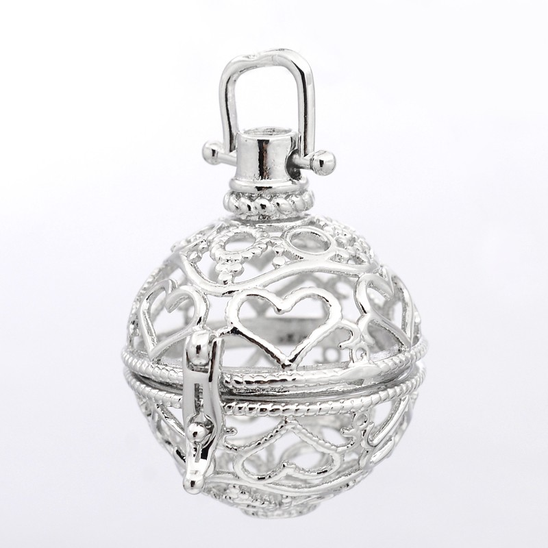 PandaHall Round with Heart Brass Hollow Cage Pendants, For Chime Ball Pendan..