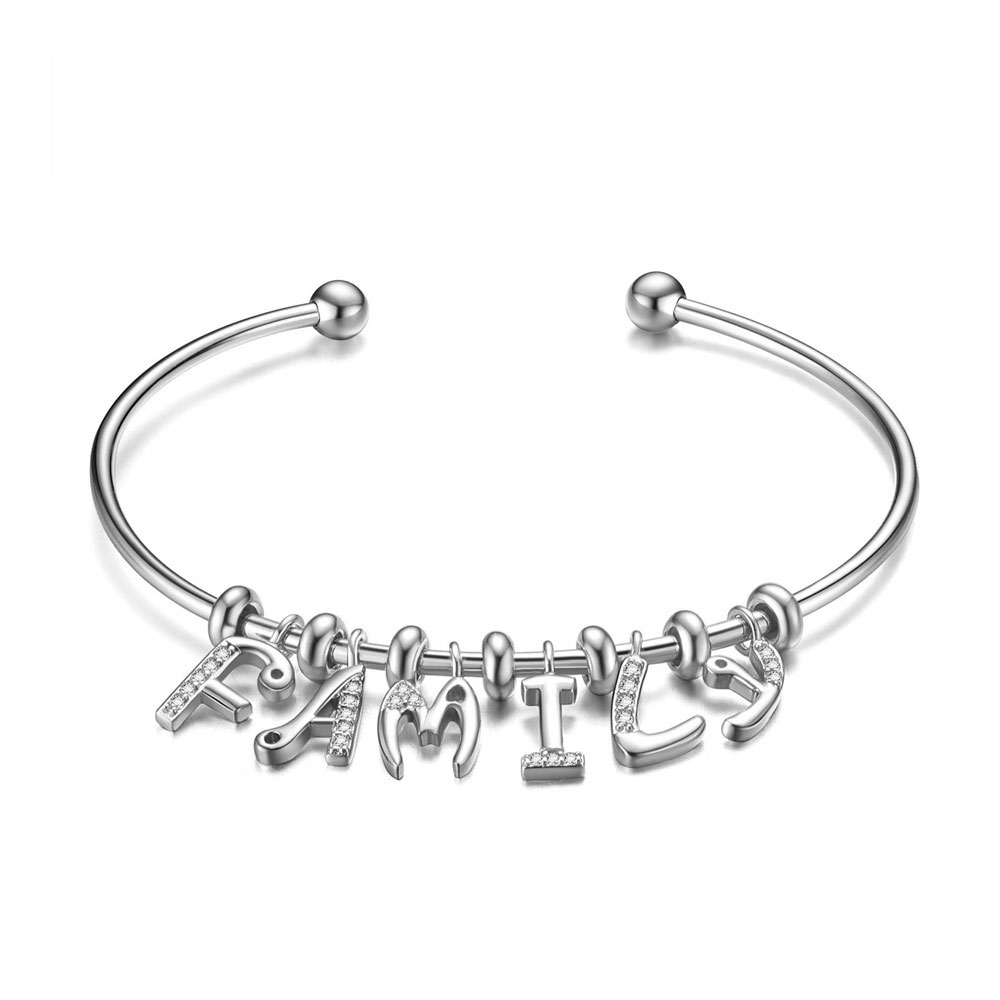 PandaHall SHEGRACE® 925 Sterling Silver Cuff Bangle, with Grade AAA Cubic Zirconia, Letter Family, Platinum, 2-3/8(6.16cm) Sterling...
