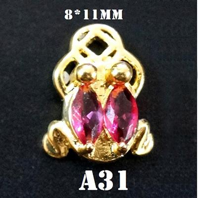 PandaHall_Alloy_Rhinestone_Cabochons_Nail_Art_Decoration_Accessories_Frog_Golden_Fuchsia_11x8mm_AlloyRhinestone_Frog_Pink