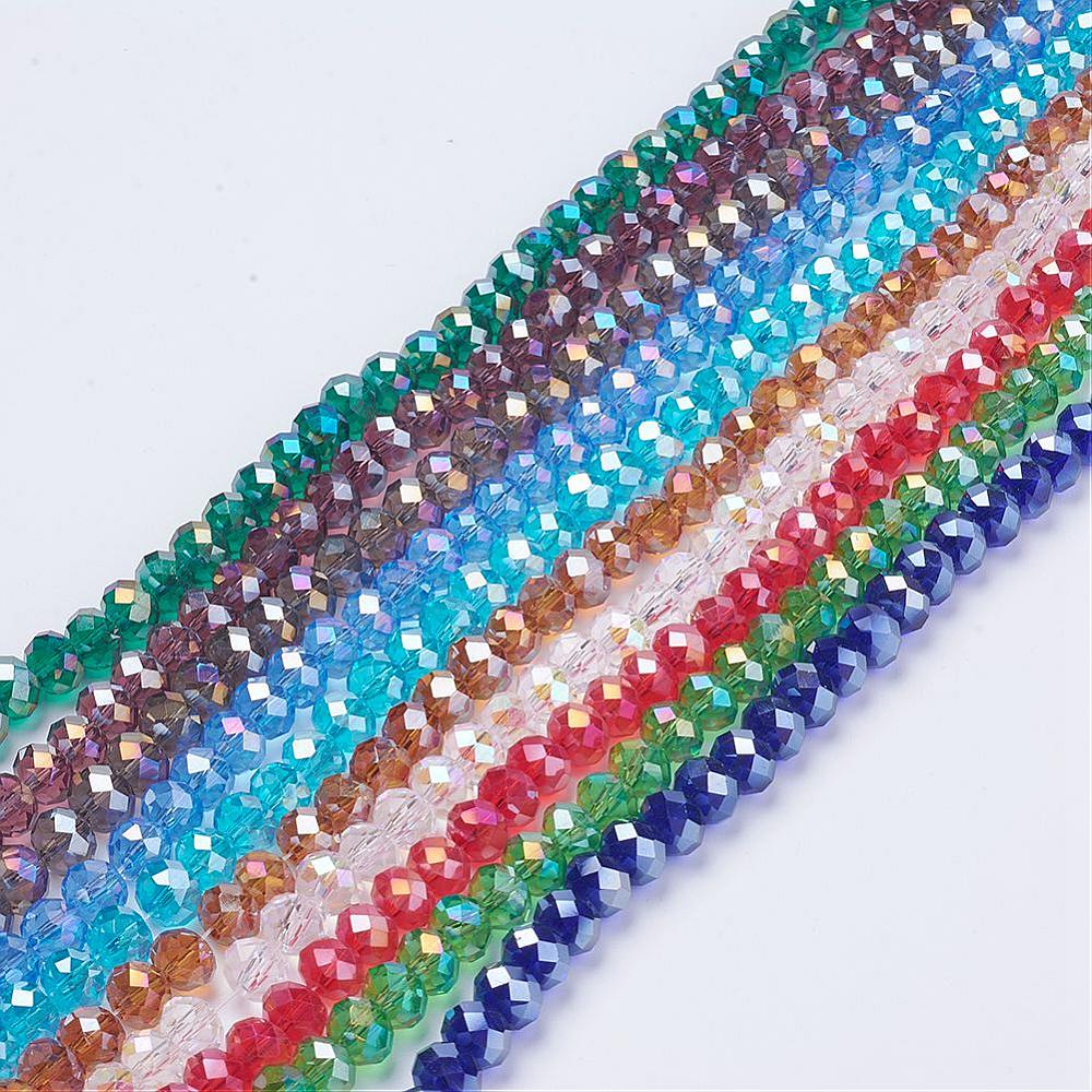 PandaHall_Electroplate_Glass_Beads_Mixed_Color_AB_Color_Plated_Faceted_Rondelle_8mm_in_diameter_6mm_thick_hole_1mm_about