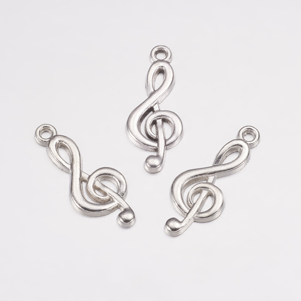 PandaHall_Tibetan_Style_Treble_Clef_Pendants_Lead_Free_Musical_Note_Antique_Silver_26x10x2mm_Hole_2mm_Alloy_Musical_Note