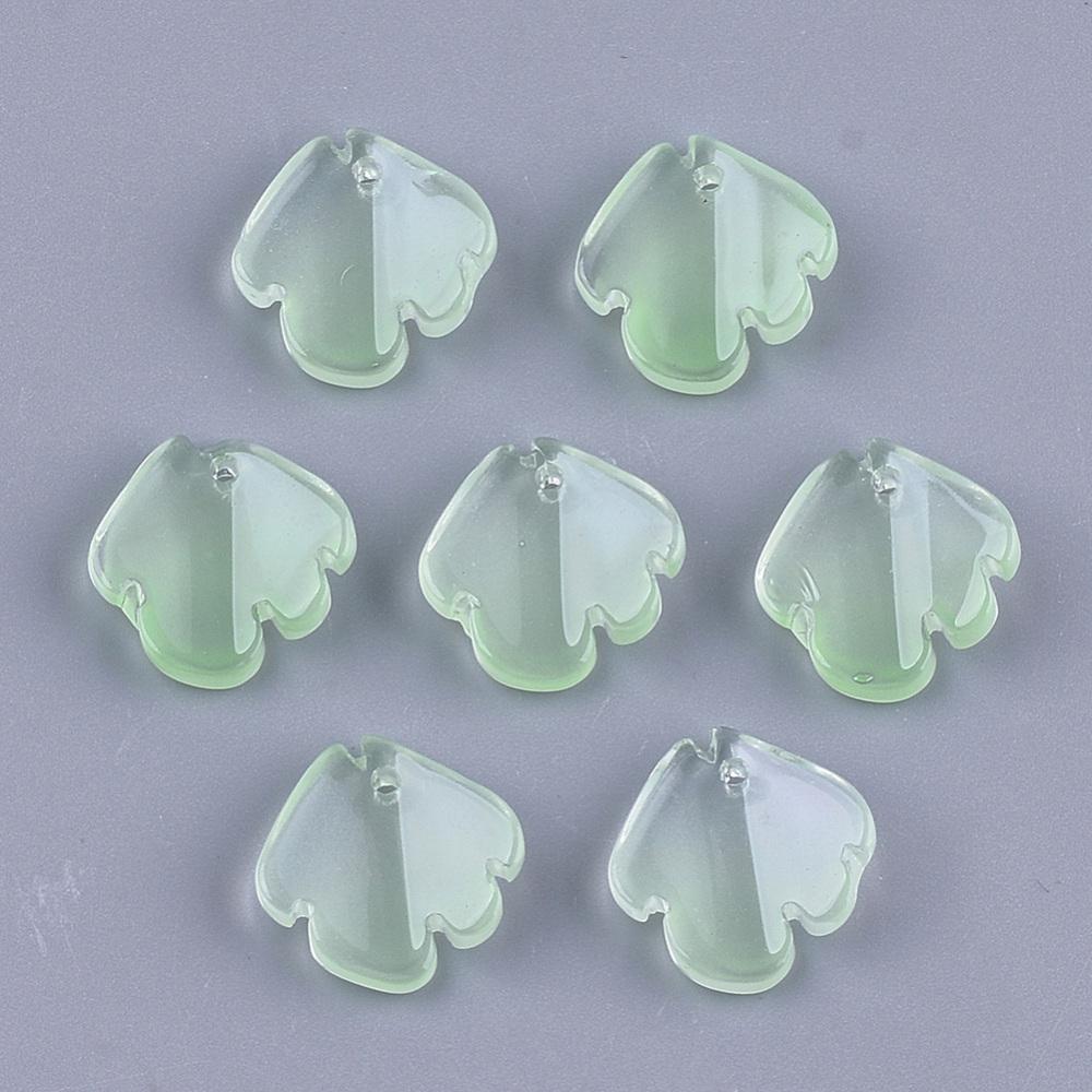 PandaHall_Transparent_Spray_Painted_Glass_Pendants_Petal_LightGreen_155~16x145~15x5mm_Hole_12mm_Glass_Petaline_Green