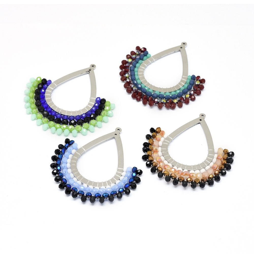 PandaHall_304_Stainless_Steel_Pendants_Decorate_with_Normal_Glass_Beads_Drop_Mixed_Color_42x415x3mm_Hole_08mm_Stainless_Steel_Drop