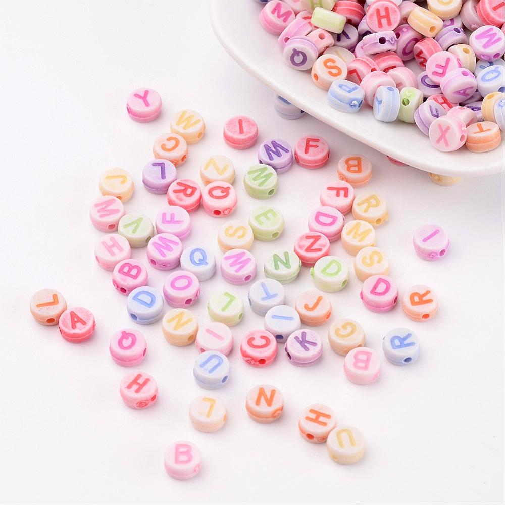 PandaHall_Alphabet_Acrylic_beads_Flat_Round_Mixed_Color_about_7mm_in_diameter_35mm_thick_hole_2mm_about_3300pcs500g_Acrylic_Flat