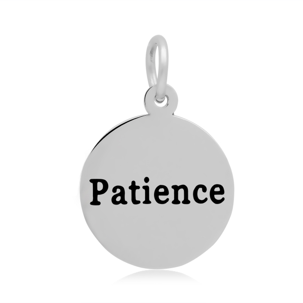 PandaHall 316 Stainless Steel Enamel Pendants, Flat Round with Word Patience..