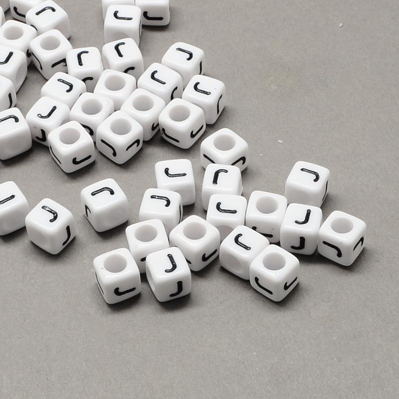 PandaHall_Large_Hole_Acrylic_Letter_European_Beads_White_&_Black_Cube_with_LetterJ_6x6x6mm_Hole_4mm_about_2950pcs500g_Acrylic_Cube