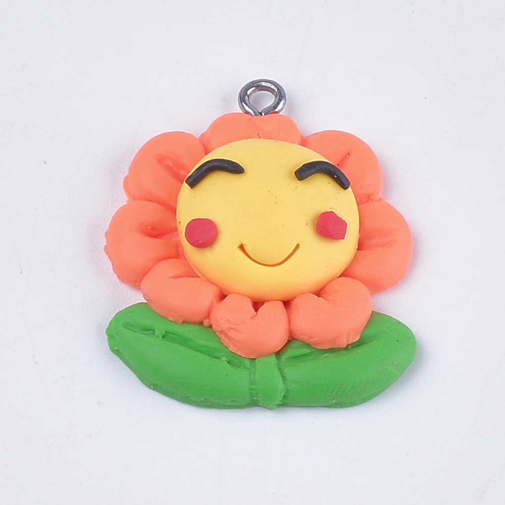 PandaHall_Handmade_Polymer_Clay_Pendants_with_Iron_Findings_Flower_Platinum_Colorful_305x25x75mm_Hole_15mm_Polymer_Clay_Flower