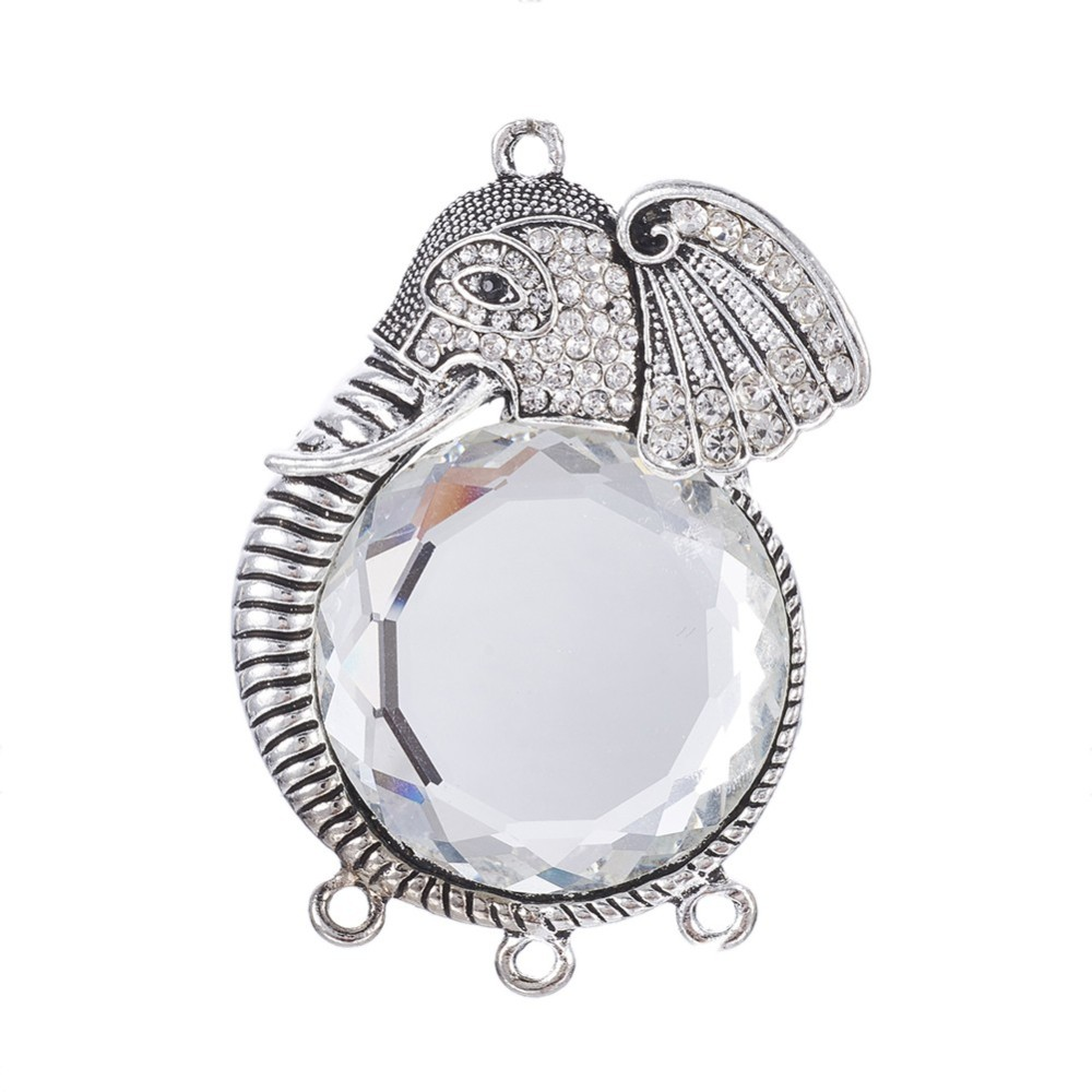 PandaHall_Tibetan_Style_Alloy_Chandelier_Component_Links_with_Glass_and_Rhinestones_Elephant_Antique_Silver_Clear_645x43x11mm_Hole