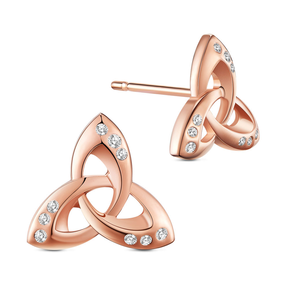 PandaHall SHEGRACE® 925 Sterling Silver Ear Studs, Micro Pave Cubic Zirconia, Trinity Knot, Rose Gold, 10mm Sterling Silver