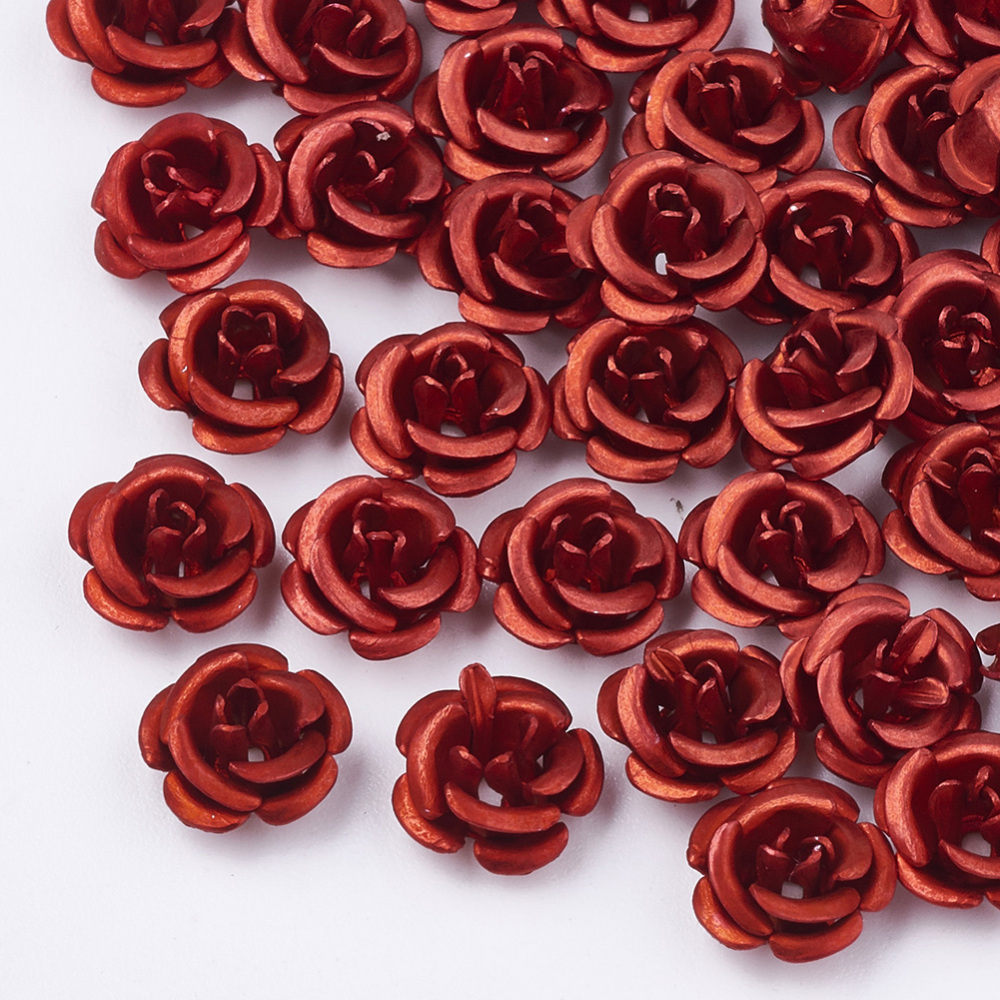 PandaHall_Aluminum_Beads_Frosted_LongLasting_Plated_5Petal_Flower_Crimson_6~65x4mm_Hole_08mm_Aluminum_Flower_Pink