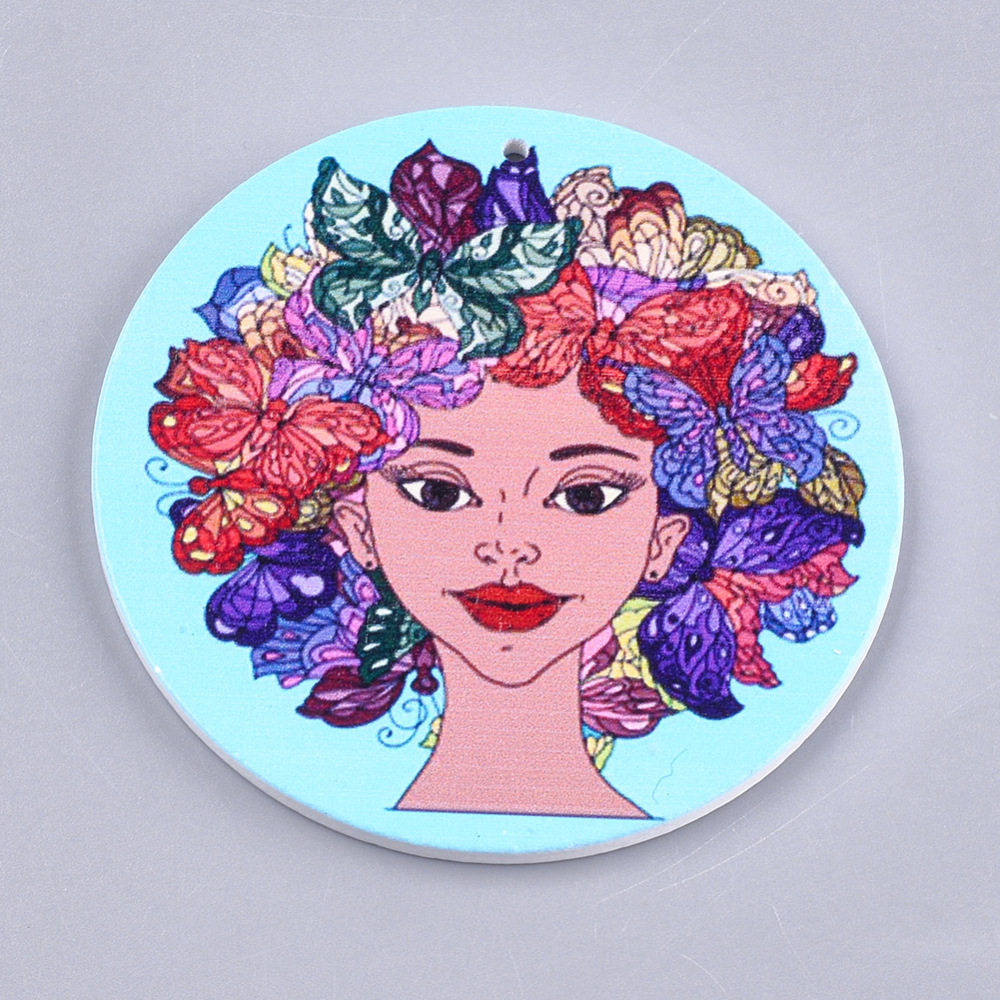 PandaHall_Printed_Wooden_Big_Pendants_Dyed_Flat_Round_with_Human_Head_Colorful_60x25mm_Hole_15mm_Wood_Flat_Round