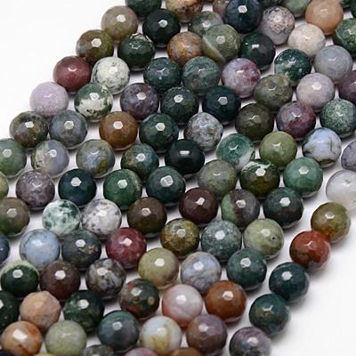 PandaHall Natural Agate Beads Strands, Faceted, Round, DarkOliveGreen, 10mm,..