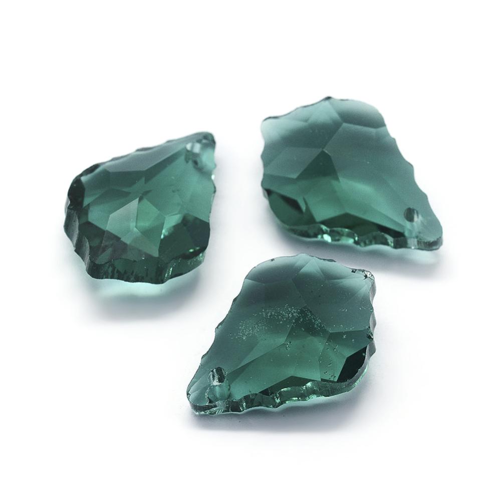 PandaHall Faceted Glass Pendants, Leaf, Cyan, 22x15.5x8.5mm, Hole: 1mm Glass Leaf Cyan