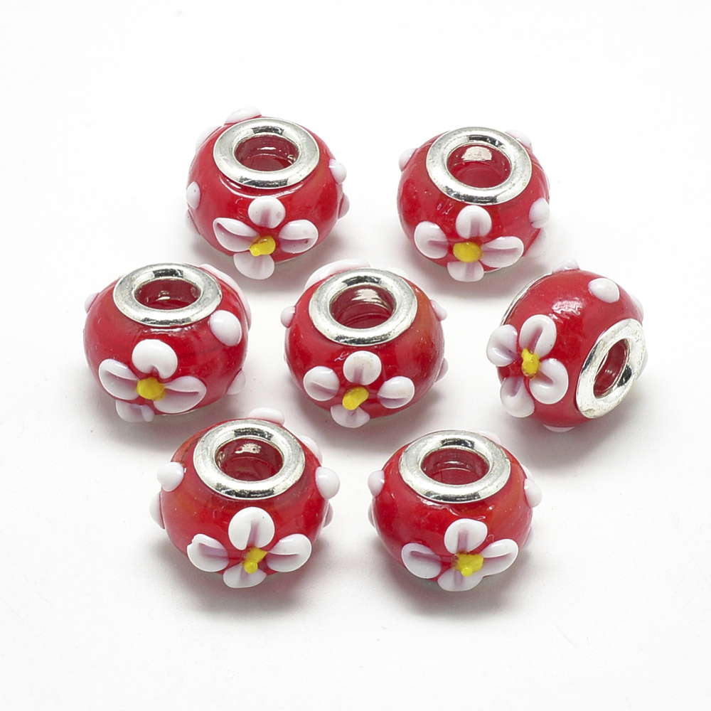 PandaHall_Handmade_Lampwork_European_Beads_Bumpy_Lampwork_with_Platinum_Brass_Double_Cores_Large_Hole_Beads_Rondelle_with_Flower_Red
