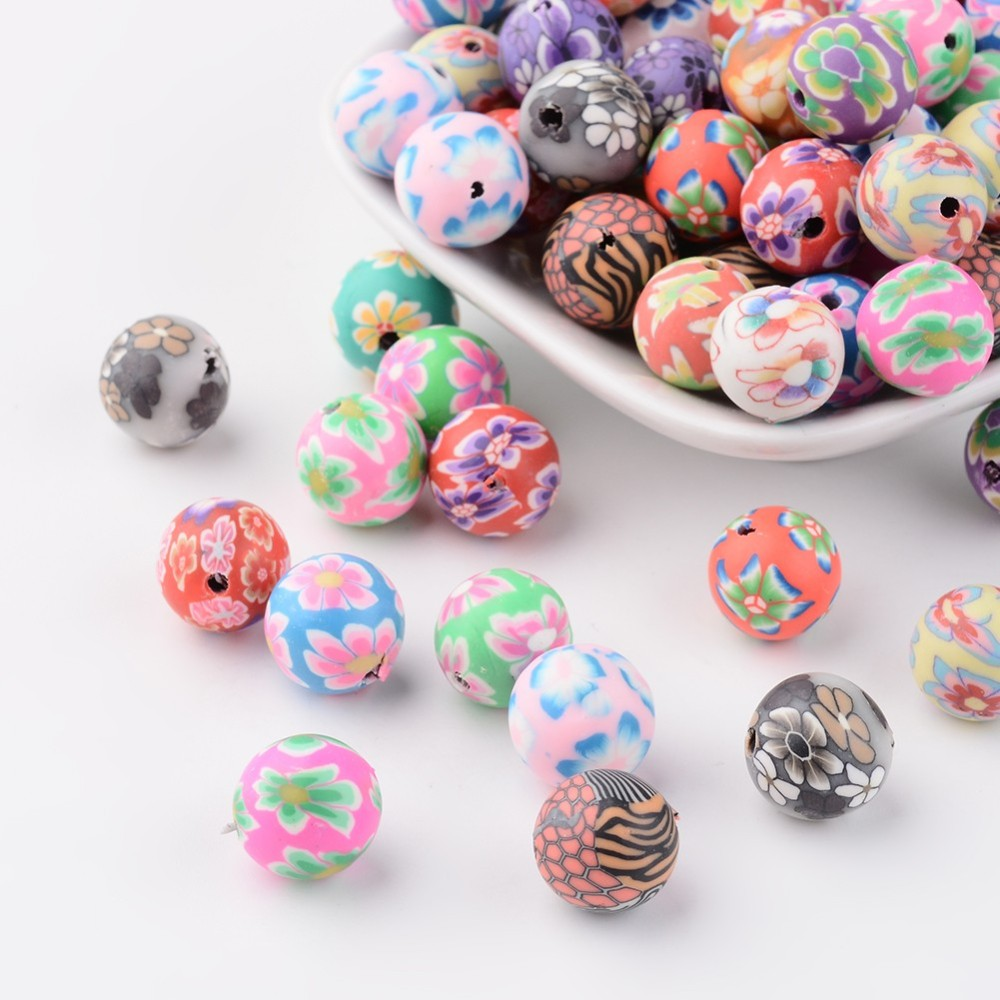 PandaHall_Handmade_Polymer_Clay_Beads_Round_Mixed_Color_about_12mm_in_diameter_hole_2mm_Polymer_Clay_Round_Multicolor