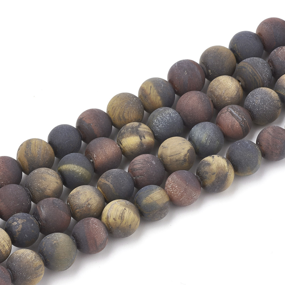 PandaHall Natural Tiger Eye Beads Strands, Frosted, Grade AB+, Round, 6~6.5mm, Hole: 1mm; about 63pcs/strand, 15.5