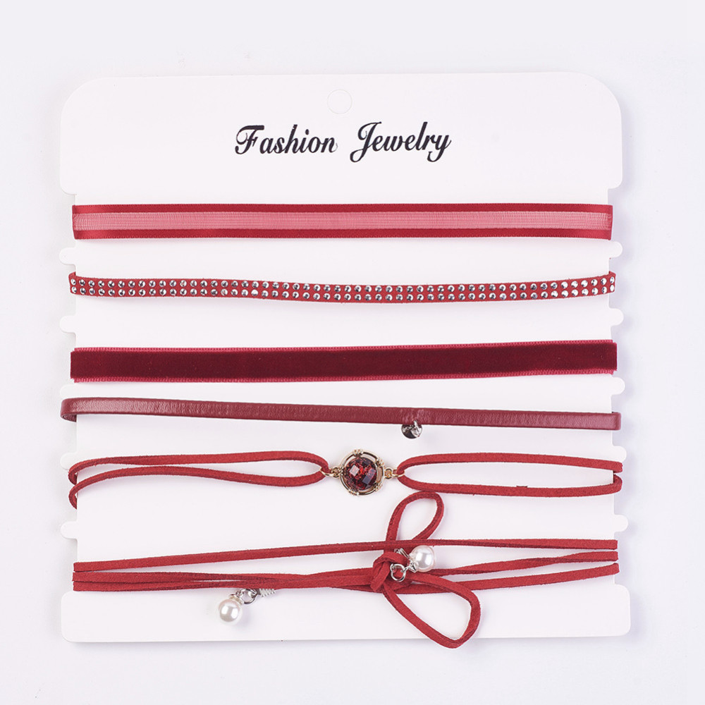 PandaHall_Faux_Suede_&_Velvet_Choker_Necklaces_with_Cloth_and_Alloy_Findings_Red_126~463321~1176cm_6pcsset_Alloy_Red
