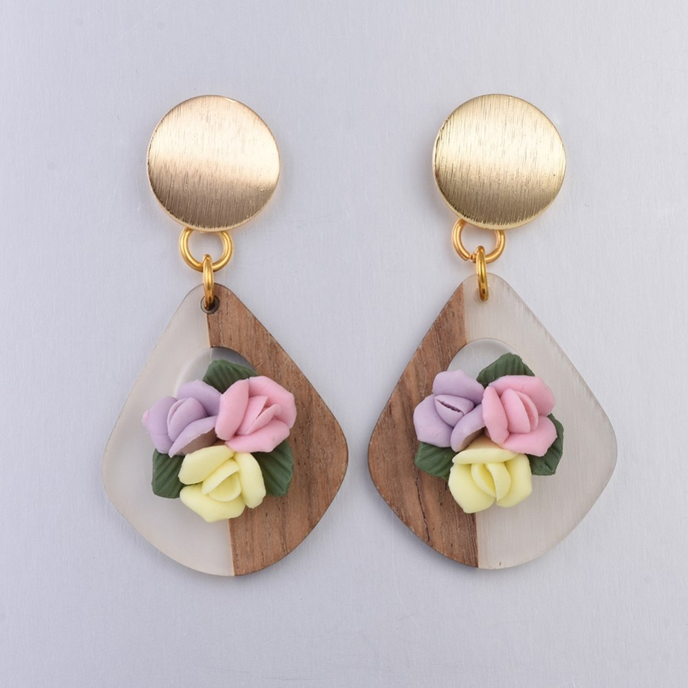 PandaHall Resin & Wood Dangle Stud Earrings, with Handmade Porcelain Flower ..