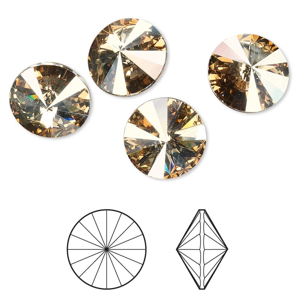 PandaHall_Austrian_Crystal_Rhinestone_Cabochons_1122_Rivoli_Chaton_Faceted_Foil_Back_001GSHA_Crystal_Golden_Shadow_614~632mm