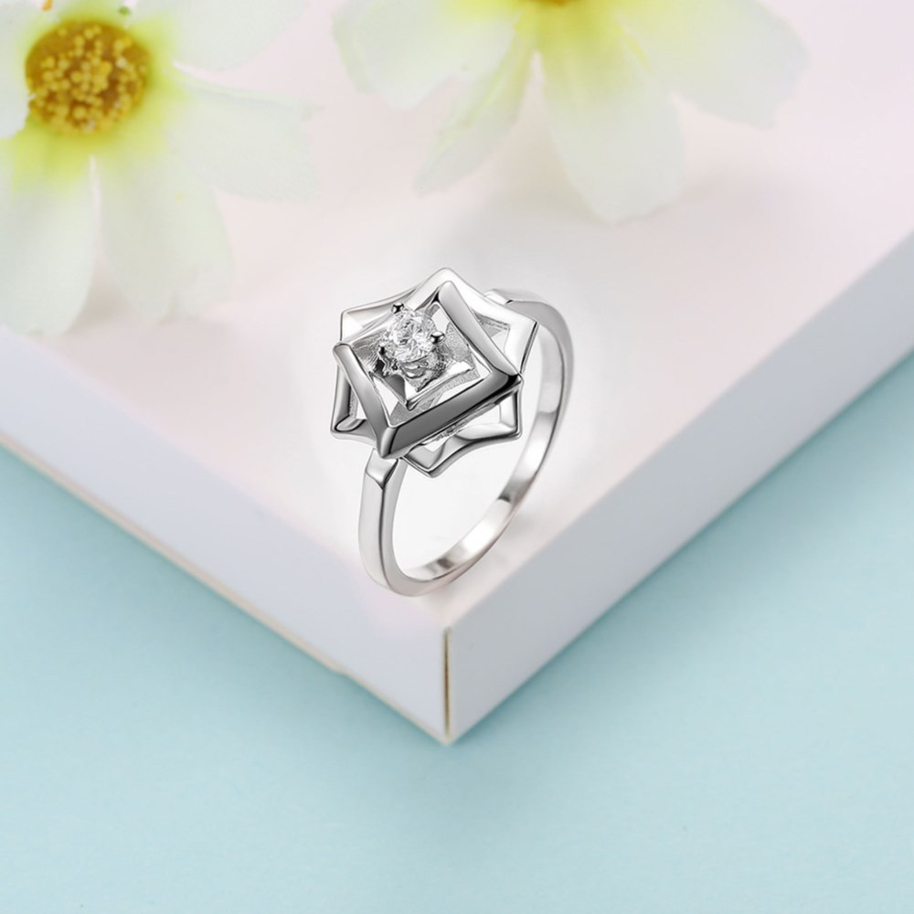 PandaHall_Cute_Sterling_Silver_Finger_Rings_Flower_Size_6_Platinum_165mm_Sterling_Silver