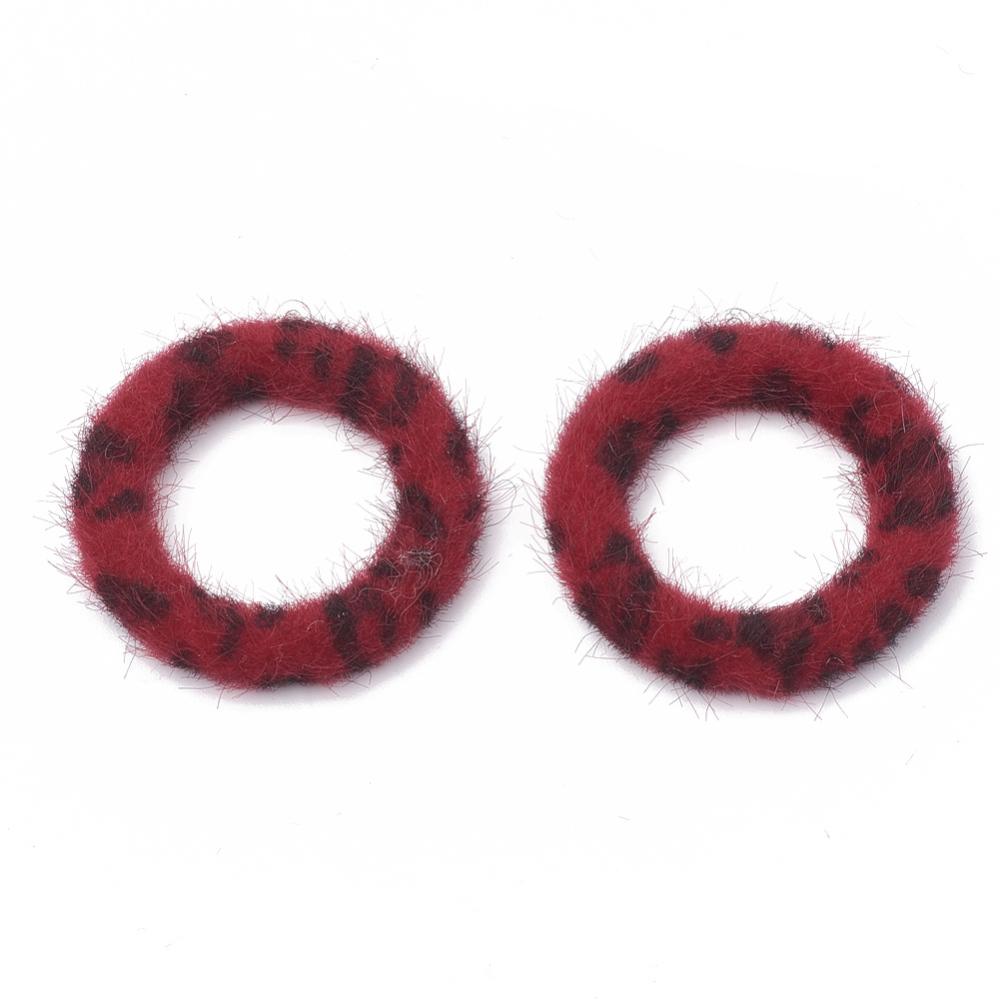 PandaHall_Imitation_Mink_Fur_Covered_ Pendants_with_Aluminum_Bottom_Ring_FireBrick_40x355x45mm_Hole_1mm_Cloth_Ring_Red
