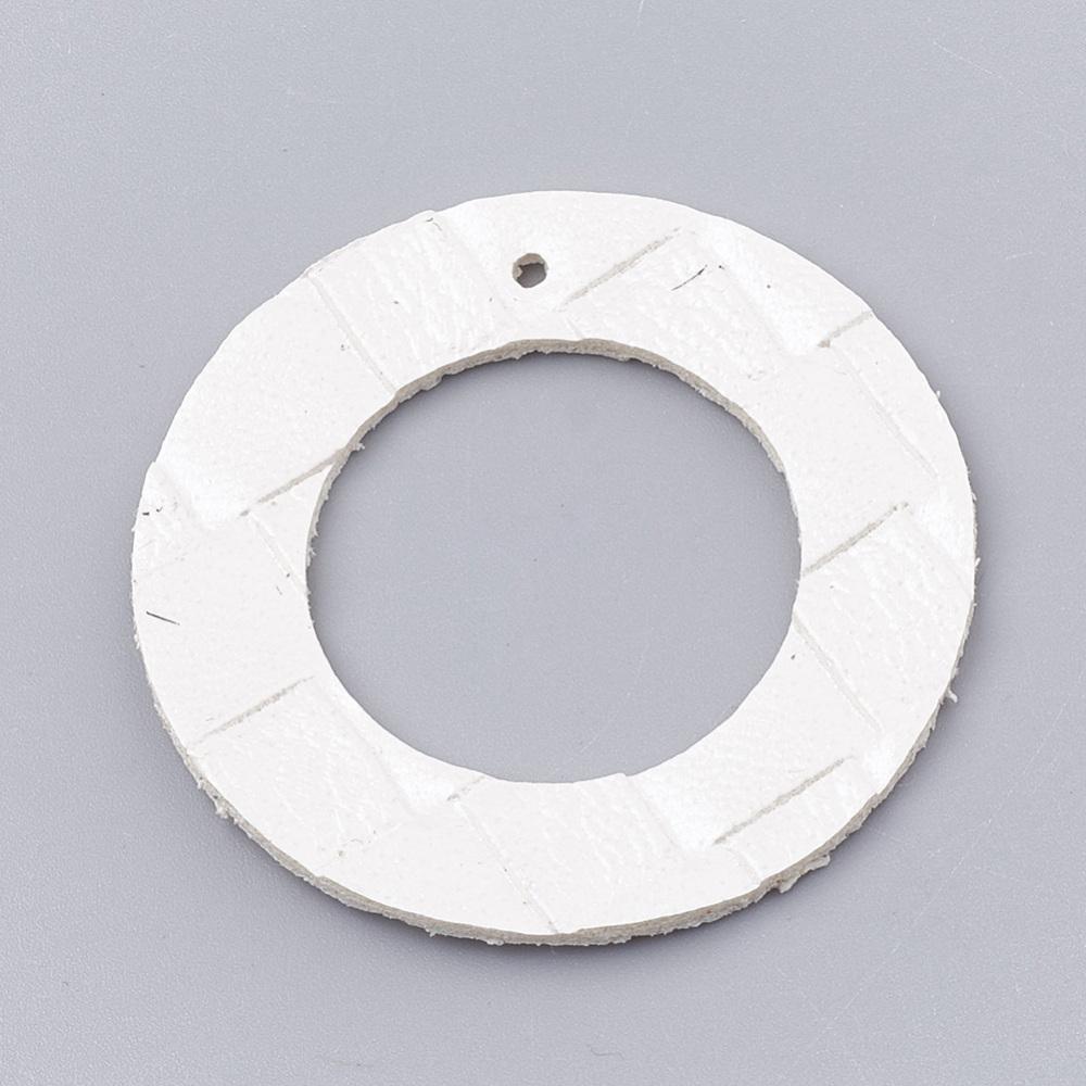 PandaHall_Imitation_Leather_Pendants_Ring_White_42x15mm_Hole_18mm_Imitation_Leather_Ring_White
