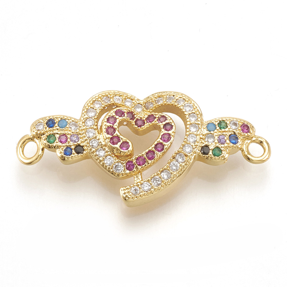 PandaHall Brass Micro Pave Cubic Zirconia Links, Heart and Wing, Golden, 13x27x3.5mm, Hole: 1.5mm Brass+Cubic Zirconia Heart