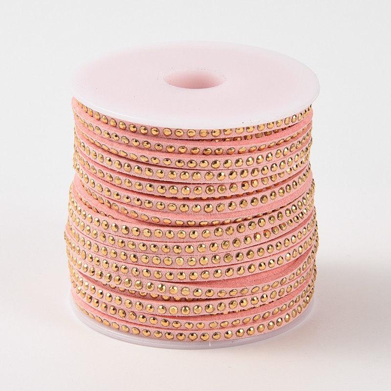 PandaHall_Rivet_Faux_Suede_Cord_Faux_Suede_Lace_with_Aluminum_Pink_3x2mm_about_20yardsroll_Suede_Pink
