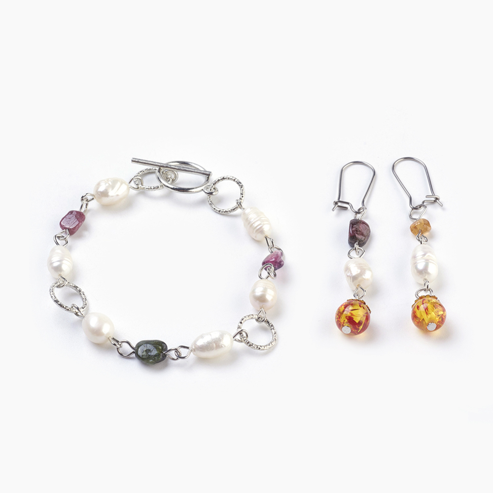 PandaHall Resin Imitation Amber & Natural Tourmaline Bracelets & Earrings Je..
