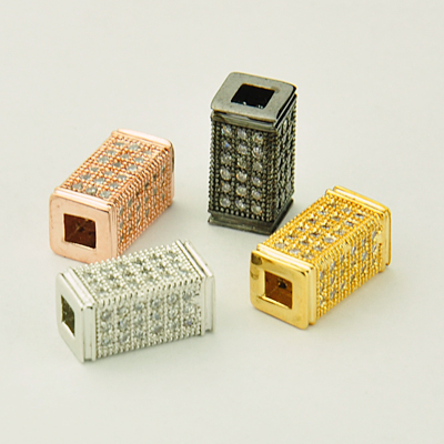 PandaHall_Cubic_Zirconia_Beads_Cuboid_Mixed_Color_12x8x6mm_Hole_4mm_BrassCubic_Zirconia_Cuboid