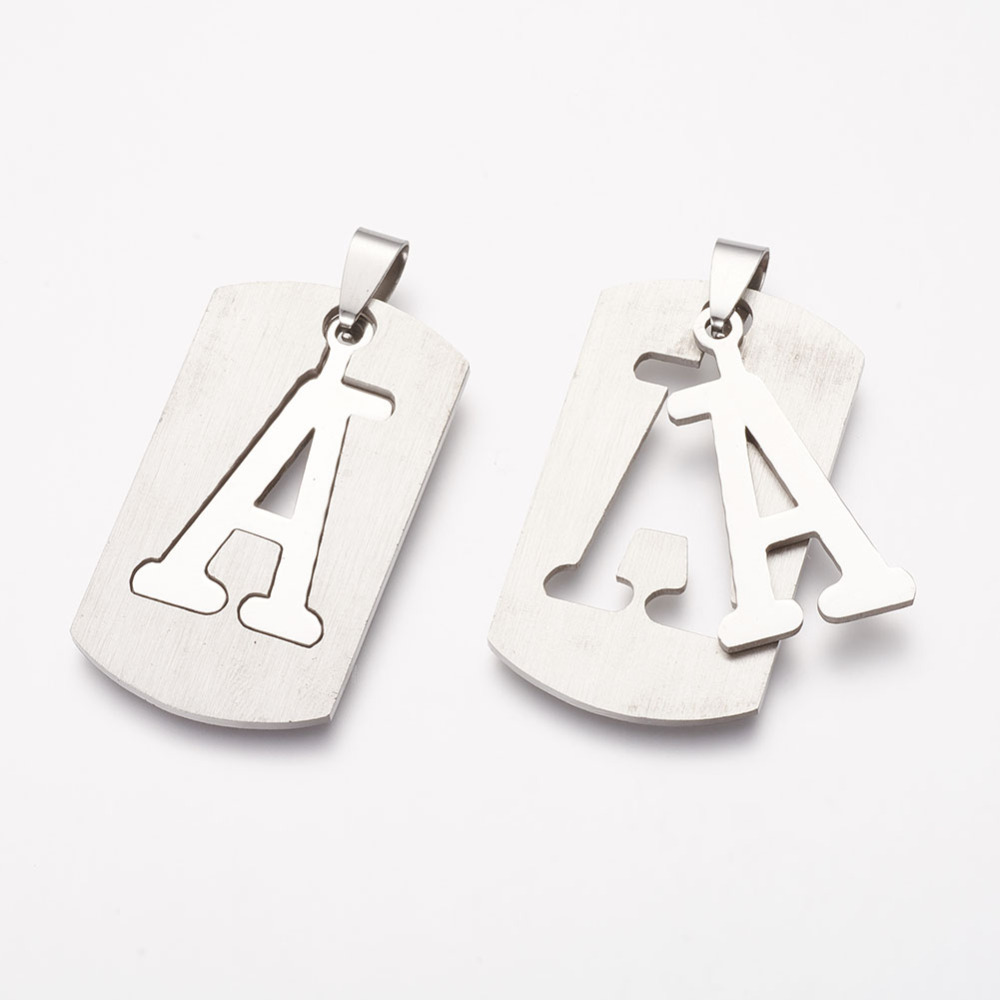 PandaHall_304_Stainless_Steel_Split_Pendants_Rectangle_with_LetterA_41x23x1mm_Hole_4x6~9mm_Stainless_Steel_Rectangle